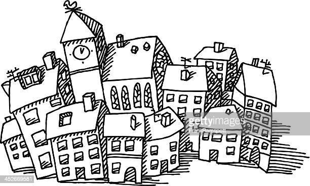 illustrations, cliparts, dessins animés et icônes de dessin de bâtiments de ville - village