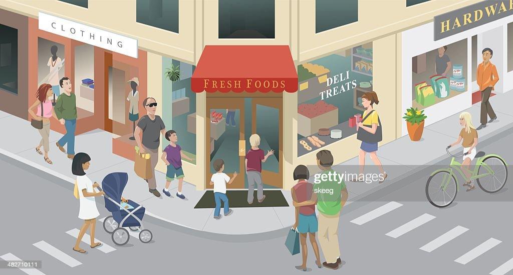Town Corner : stock illustration