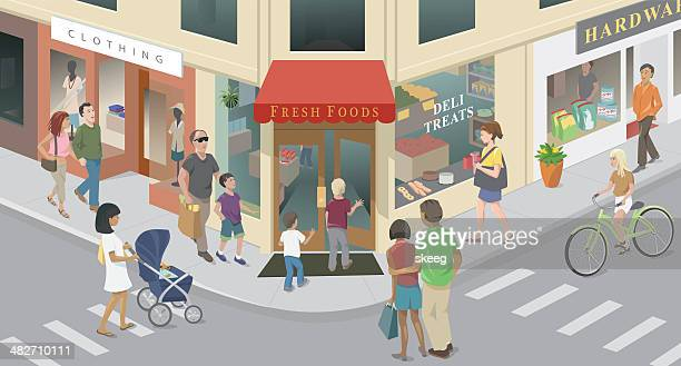 town corner - family cycling stock illustrations, clip art, cartoons, & icons