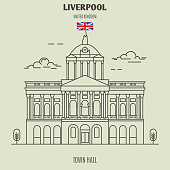 Town Hall in Liverpool, UK. Landmark icon