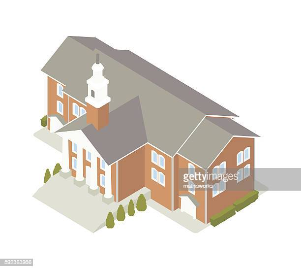 town hall isometric illustration - mathisworks architecture stock illustrations