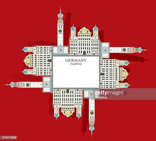 town hall tower in augsburg - augsburg stock-grafiken, -clipart, -cartoons und -symbole