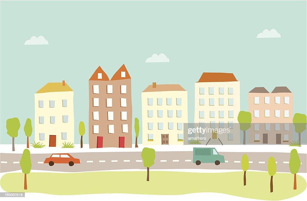 Town Houses : Stock Illustration