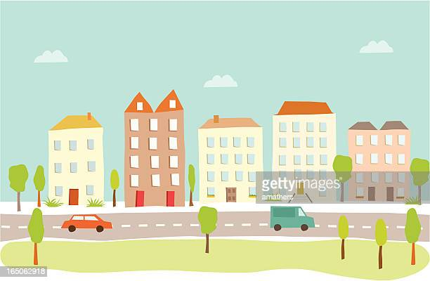 town houses - town stock illustrations