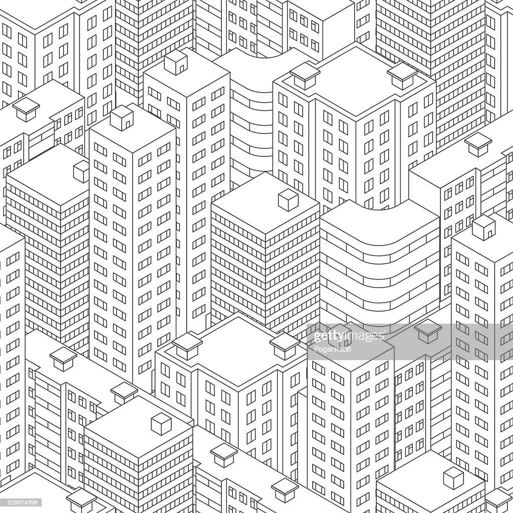 Town in isometric view. Seamless pattern with houses. Linear sty