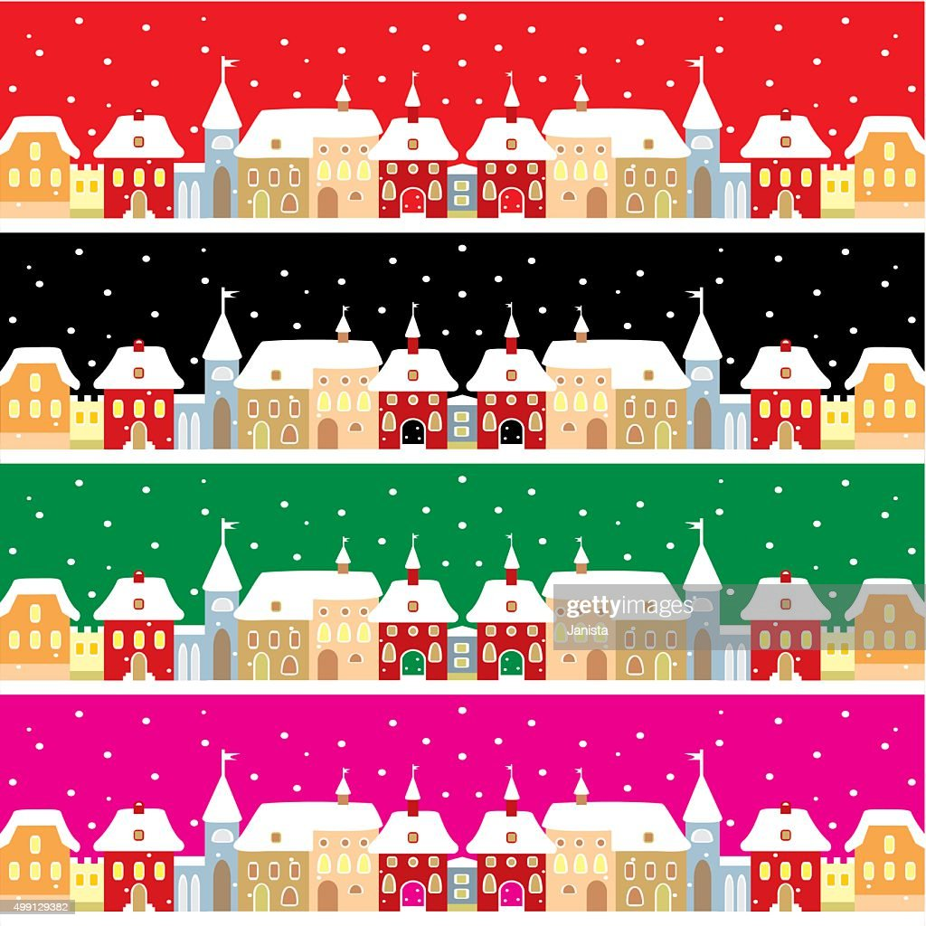 Town in winter, vector backgrond