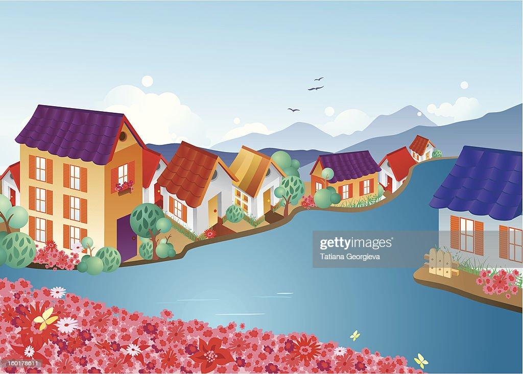 Town on a river : Vektorgrafik