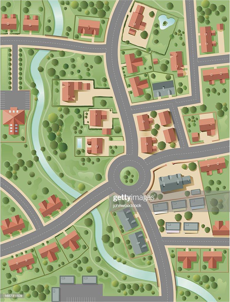 Town plan : stock illustration