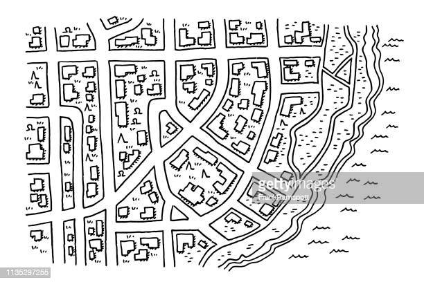 Stadt Road Map Coast Drawing