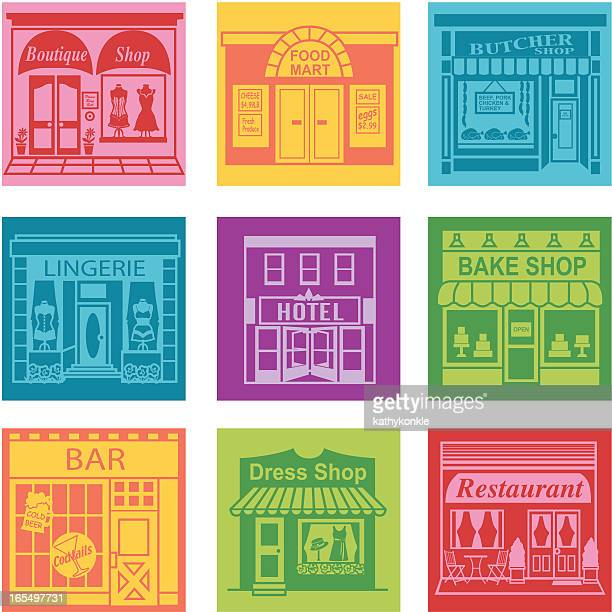 town - boutique stock illustrations, clip art, cartoons, & icons