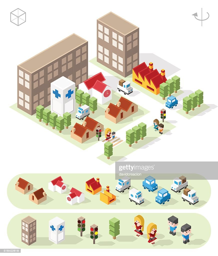 Town with Shadows on White Background.