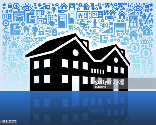 Townhouse on Home Automation and Security Vector Background