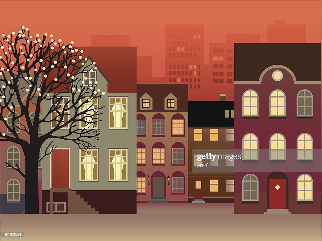Townhouses on Street and Tree Decorated with Lights : stock illustration