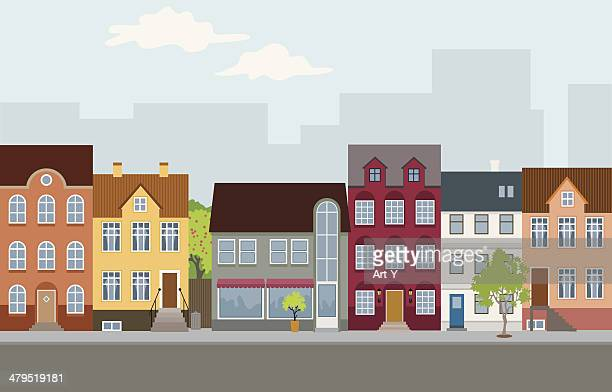 townhouses - house exterior stock illustrations, clip art, cartoons, & icons