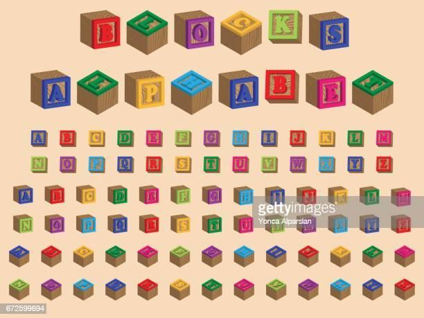 illustrations, cliparts, dessins animés et icônes de bloc de l'alphabet en plastique - jeu de construction