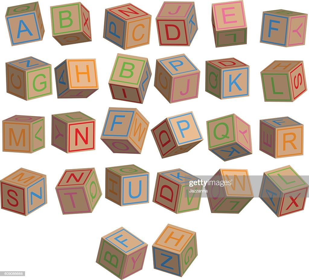 Toy blocks alphabet in 3D disordered