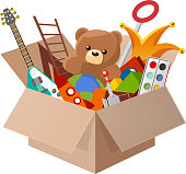 Toy Box Teddy Bear Guitar Ball Watercolor