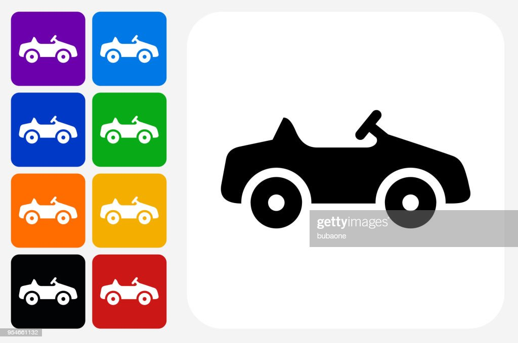 Toy Car Icon Square Button Set Vector Art Getty Images