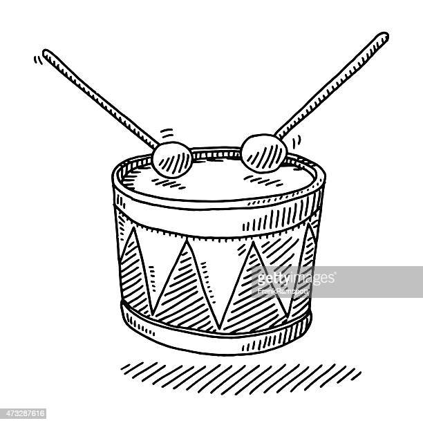 toy drum musical instrument drawing - drum percussion instrument stock illustrations, clip art, cartoons, & icons