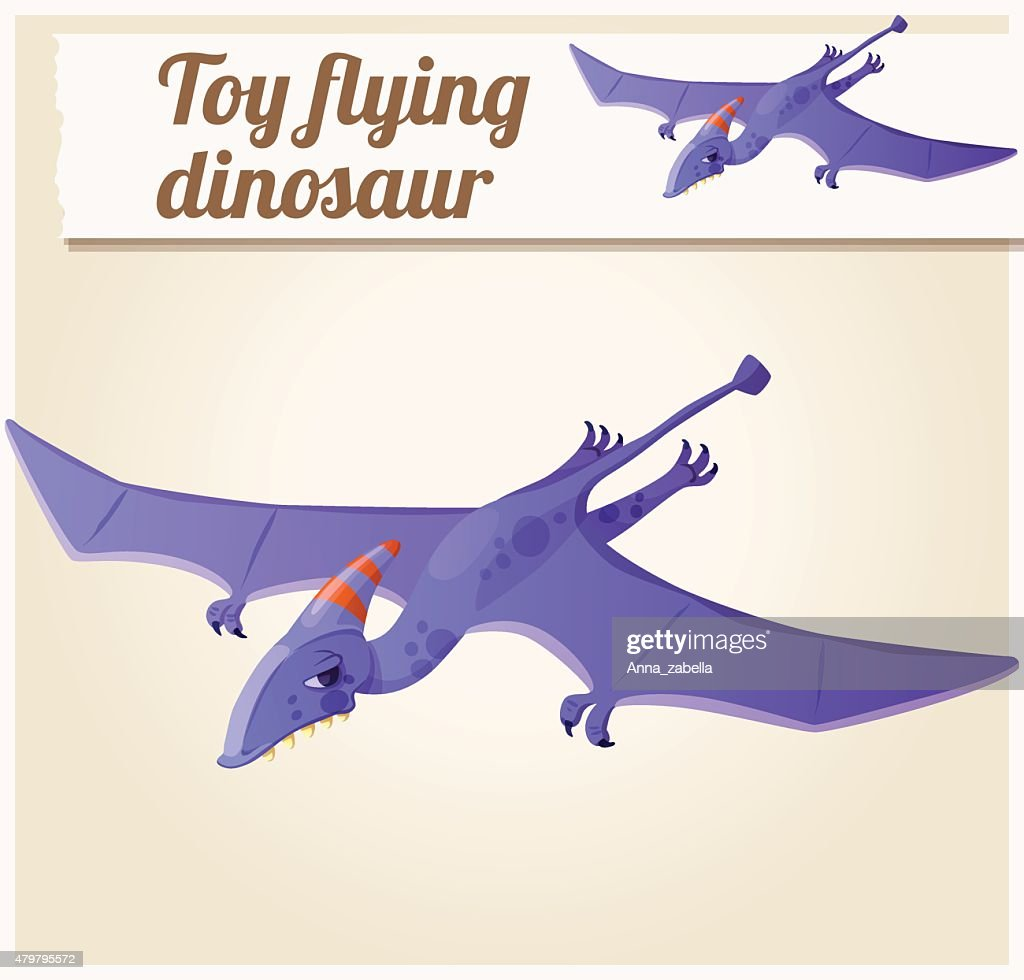 Toy flying dinosaur 5. Cartoon vector illustration. Series of children