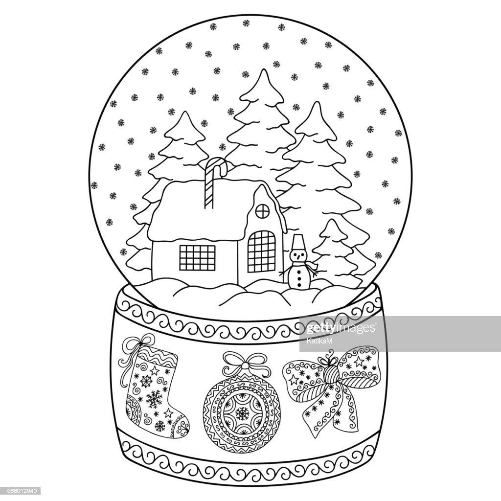 Kleurplaten Winter Voor Volwassenen.Speelgoed Glas Sneeuw Globe Met Huis Boek Kleurplaat Voor
