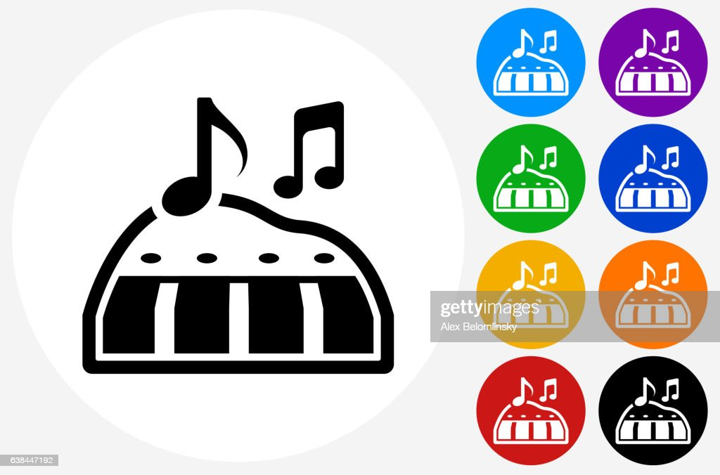 toy piano icon on flat color circle buttons ベクトルアート getty