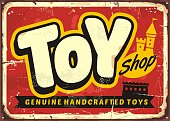 Toy shop or toy store vintage vector sign