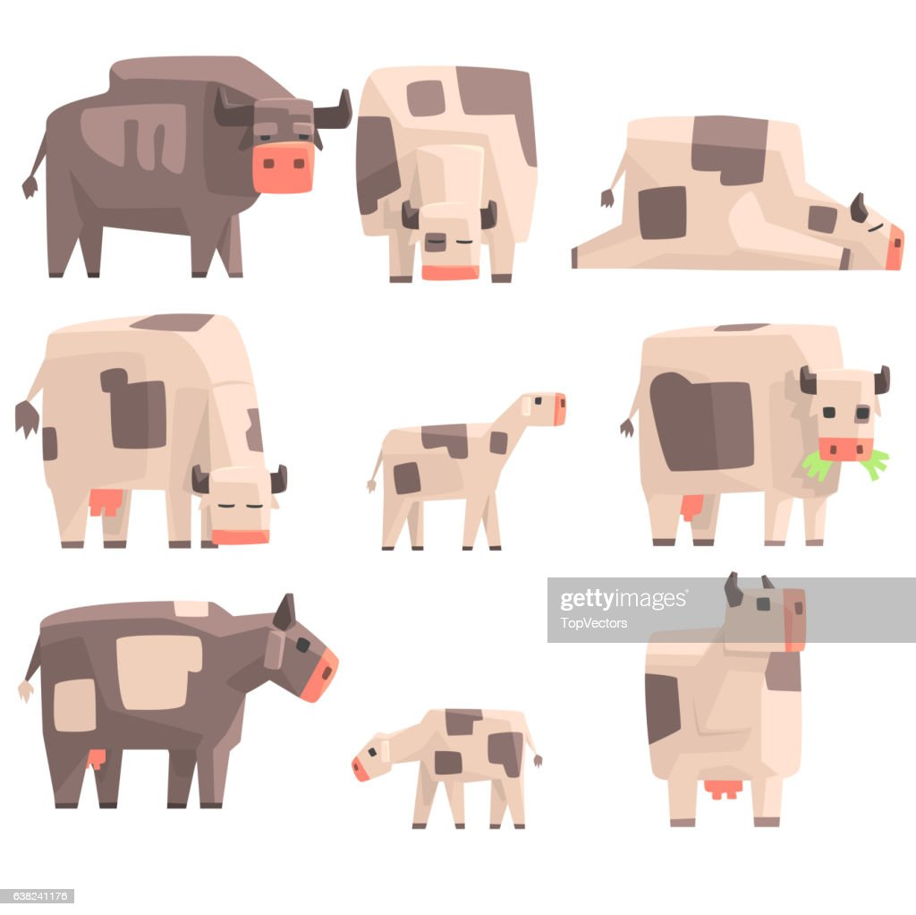 Toy Simple Geometric Farm Cows Standing And Laying