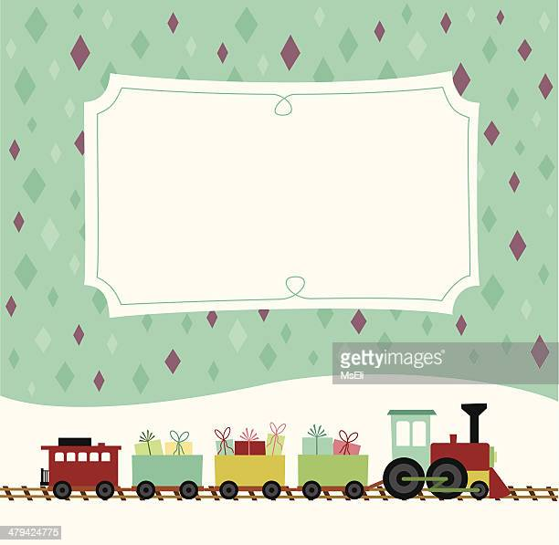 toy train with presents and placard - miniature train stock illustrations, clip art, cartoons, & icons