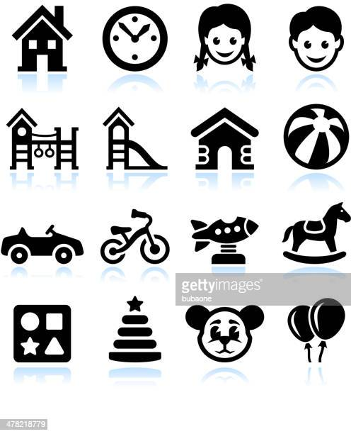 toys and games black & white vector interface icon set - school yard stock illustrations, clip art, cartoons, & icons
