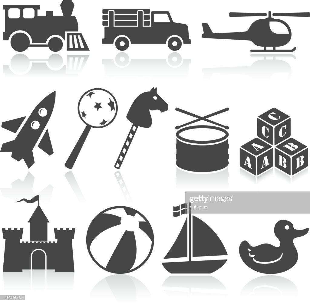 toys black and white royalty free vector icon set