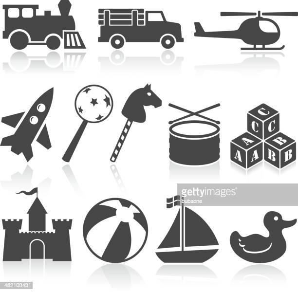 toys black and white royalty free vector icon set - miniature train stock illustrations, clip art, cartoons, & icons