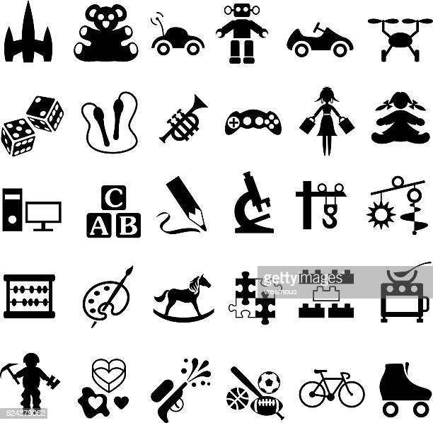 toys icon set - jump rope stock illustrations, clip art, cartoons, & icons