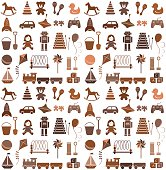 Toys icons. Seamless pattern. Retro style.
