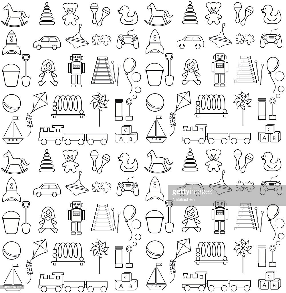 Toys icons, seamless pattern.