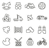 Toys Icons Thin Line Vector Illustration Set