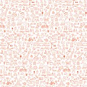 Toys seamless hand drawn doodle pattern