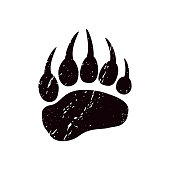 A trace a bear. White silhouette of paw.