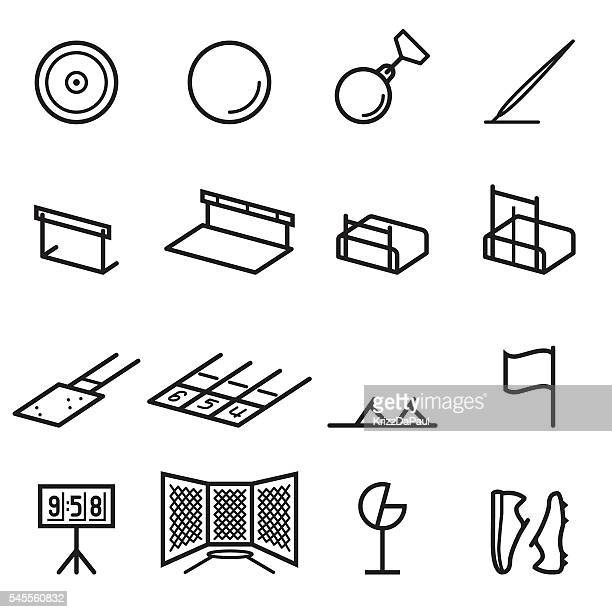 track and field equipment icons - pole vault stock illustrations