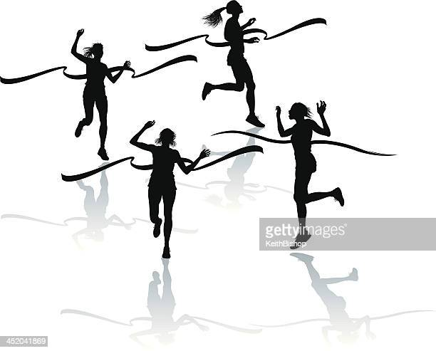 track and field - female finish line - women's track stock illustrations, clip art, cartoons, & icons