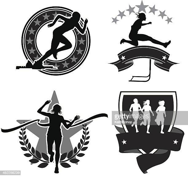 track and field - girls icons & banners - women's track stock illustrations, clip art, cartoons, & icons