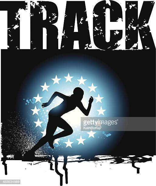 track and field - girls sprint grunge background - women's track stock illustrations, clip art, cartoons, & icons