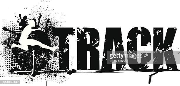 track and field hurdle grunge graphic - girls - track and field stock illustrations, clip art, cartoons, & icons