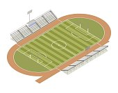 Track and field isometric illustration