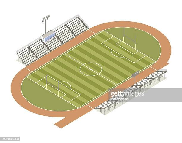 track and field isometric illustration - mathisworks architecture stock illustrations