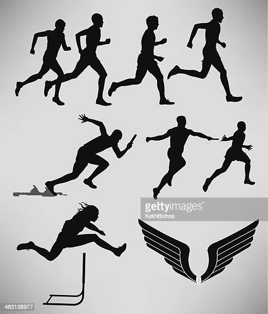 track and field - men events - hurdling track event stock illustrations
