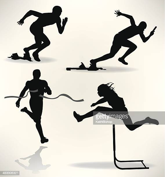 track and field runners, sprinter - hurdle stock illustrations