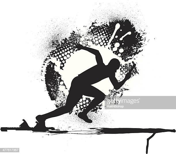 track & field relay race - runner grunge graphic - track and field stock illustrations, clip art, cartoons, & icons