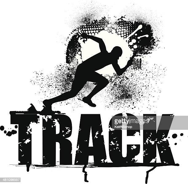 track grunge graphic - male sprinter - track and field stock illustrations, clip art, cartoons, & icons