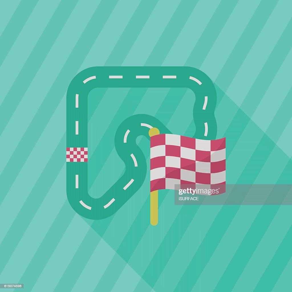 Track  icon, Vector flat long shadow design. Racing concept.